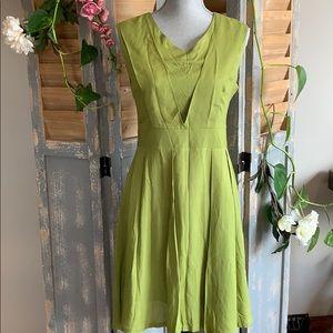 Kiwi Green sleeveless fit and flare dress
